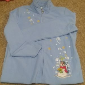 Fleece Zip Winter Christmas Snowman sweater